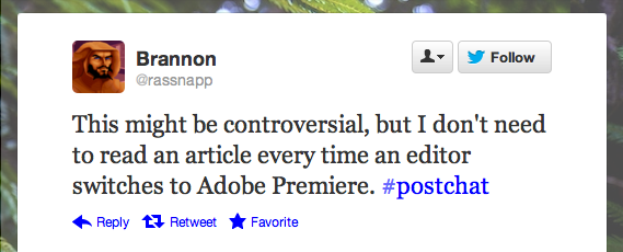 Or, for that matter, a Tweet about an article about an editor...